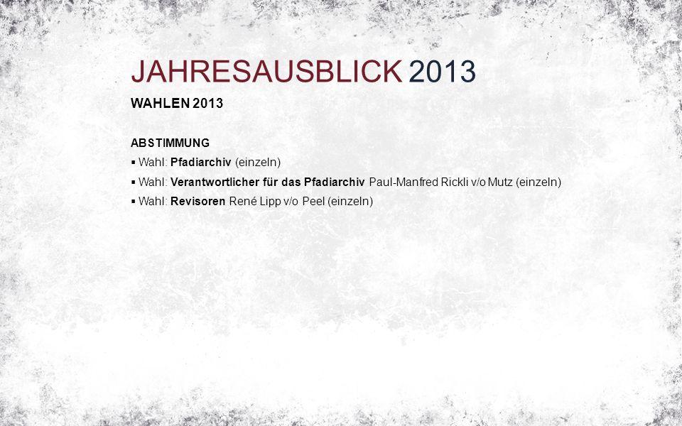JAHRESAUSBLICK 2013 WAHLEN 2013 ABSTIMMUNG  Wahl: Pfadiarchiv (einzeln)  Wahl: Verantwortlicher für das Pfadiarchiv Paul-Manfred Rickli v/o Mutz (ei