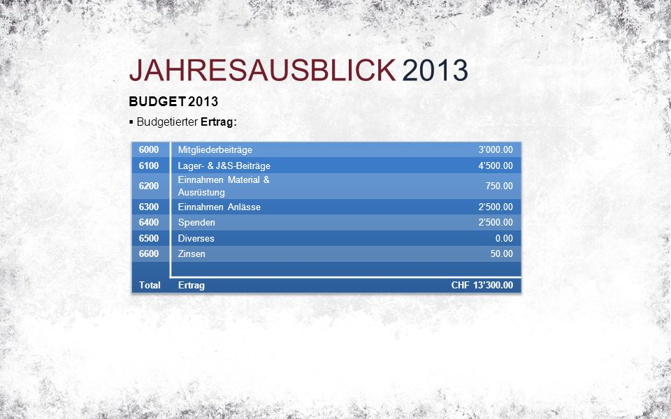 JAHRESAUSBLICK 2013 BUDGET 2013  Budgetierter Ertrag: