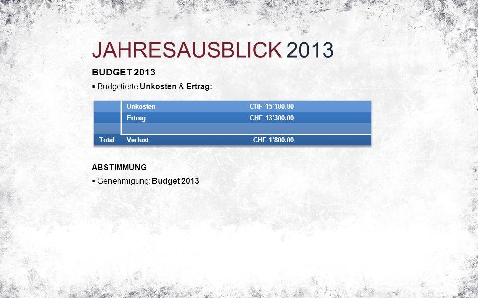 JAHRESAUSBLICK 2013 BUDGET 2013  Budgetierte Unkosten & Ertrag: ABSTIMMUNG  Genehmigung: Budget 2013