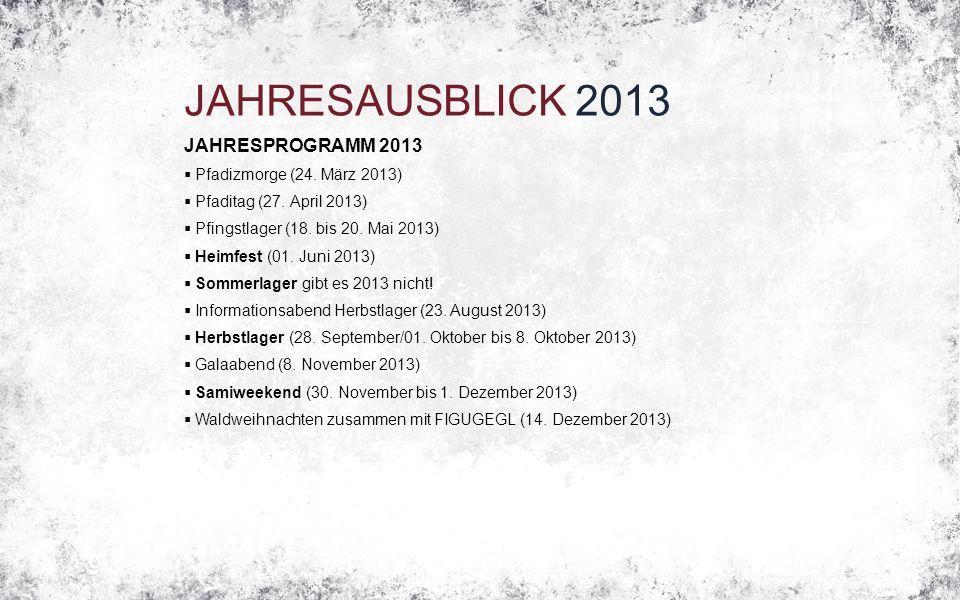 JAHRESAUSBLICK 2013 JAHRESPROGRAMM 2013  Pfadizmorge (24. März 2013)  Pfaditag (27. April 2013)  Pfingstlager (18. bis 20. Mai 2013)  Heimfest (01