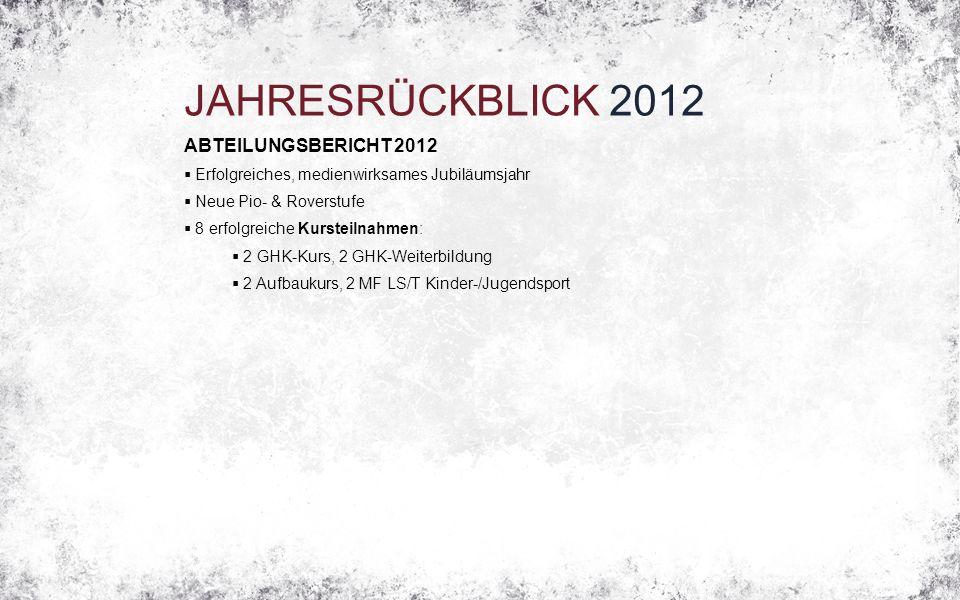 JAHRESRÜCKBLICK 2012 ABTEILUNGSBERICHT 2012  Erfolgreiches, medienwirksames Jubiläumsjahr  Neue Pio- & Roverstufe  8 erfolgreiche Kursteilnahmen: 