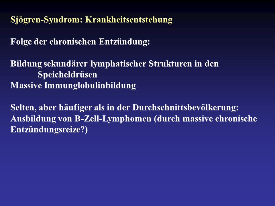 Sjögren-Syndrom: Krankheitsentstehung Folge der chronischen Entzündung: Bildung sekundärer lymphatischer Strukturen in den Speicheldrüsen Massive Immunglobulinbildung Selten, aber häufiger als in der Durchschnittsbevölkerung: Ausbildung von B-Zell-Lymphomen (durch massive chronische Entzündungsreize?)