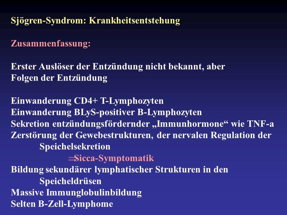 """Sjögren-Syndrom: Krankheitsentstehung Zusammenfassung: Erster Auslöser der Entzündung nicht bekannt, aber Folgen der Entzündung Einwanderung CD4+ T-Lymphozyten Einwanderung BLyS-positiver B-Lymphozyten Sekretion entzündungsfördernder """"Immunhormone wie TNF-a Zerstörung der Gewebestrukturen, der nervalen Regulation der Speichelsekretion  Sicca-Symptomatik Bildung sekundärer lymphatischer Strukturen in den Speicheldrüsen Massive Immunglobulinbildung Selten B-Zell-Lymphome"""