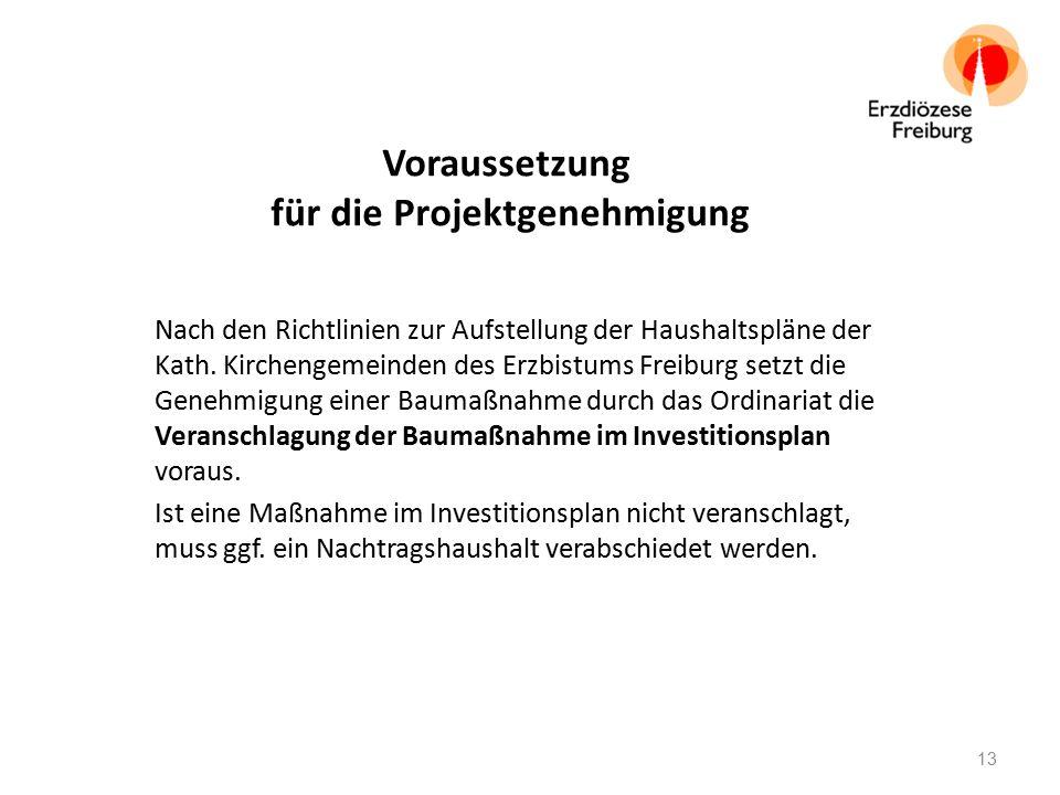 Voraussetzung für die Projektgenehmigung Nach den Richtlinien zur Aufstellung der Haushaltspläne der Kath. Kirchengemeinden des Erzbistums Freiburg se