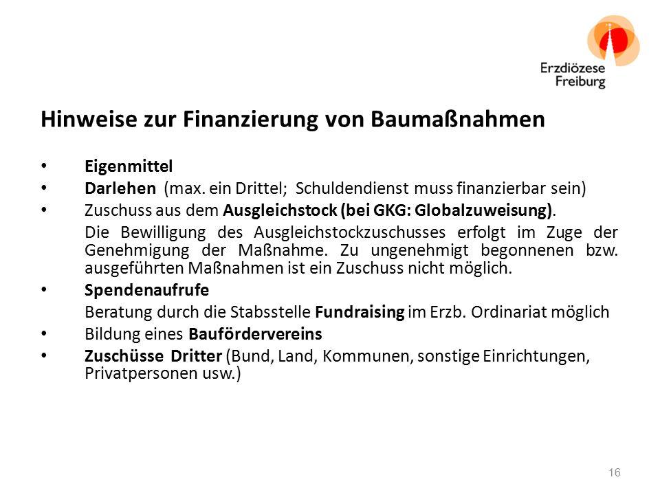 Hinweise zur Finanzierung von Baumaßnahmen Eigenmittel Darlehen (max.