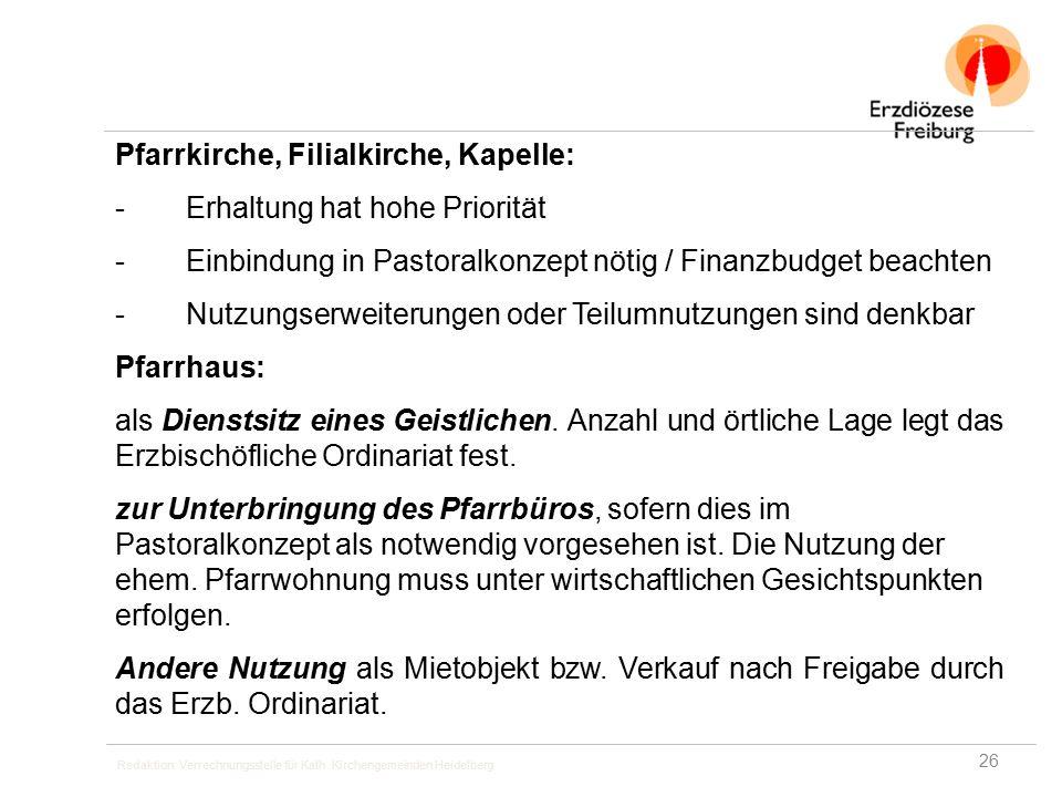 Redaktion: Verrechnungsstelle für Kath. Kirchengemeinden Heidelberg Pfarrkirche, Filialkirche, Kapelle: -Erhaltung hat hohe Priorität -Einbindung in P