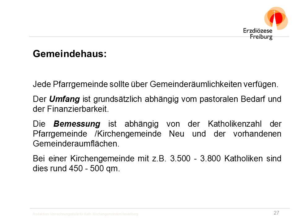 Redaktion: Verrechnungsstelle für Kath. Kirchengemeinden Heidelberg Gemeindehaus: Jede Pfarrgemeinde sollte über Gemeinderäumlichkeiten verfügen. Der