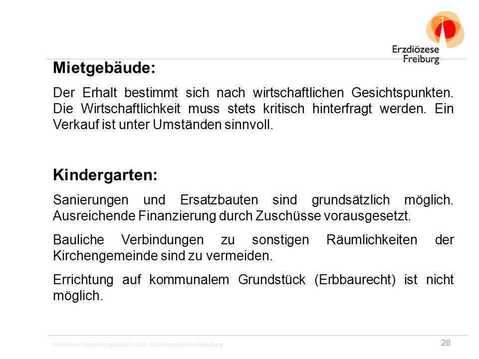 Redaktion: Verrechnungsstelle für Kath. Kirchengemeinden Heidelberg Mietgebäude: Der Erhalt bestimmt sich nach wirtschaftlichen Gesichtspunkten. Die W