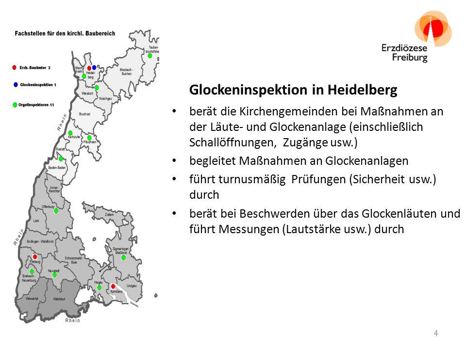 Glockeninspektion in Heidelberg berät die Kirchengemeinden bei Maßnahmen an der Läute- und Glockenanlage (einschließlich Schallöffnungen, Zugänge usw.) begleitet Maßnahmen an Glockenanlagen führt turnusmäßig Prüfungen (Sicherheit usw.) durch berät bei Beschwerden über das Glockenläuten und führt Messungen (Lautstärke usw.) durch 4