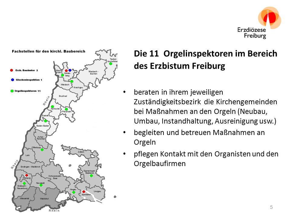 Die 11 Orgelinspektoren im Bereich des Erzbistum Freiburg beraten in ihrem jeweiligen Zuständigkeitsbezirk die Kirchengemeinden bei Maßnahmen an den O