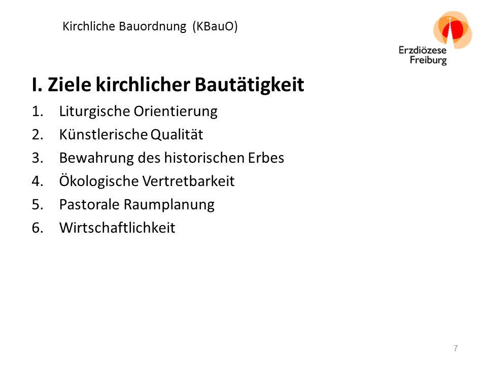 Kirchliche Bauordnung (KBauO) I. Ziele kirchlicher Bautätigkeit 1.Liturgische Orientierung 2.Künstlerische Qualität 3.Bewahrung des historischen Erbes