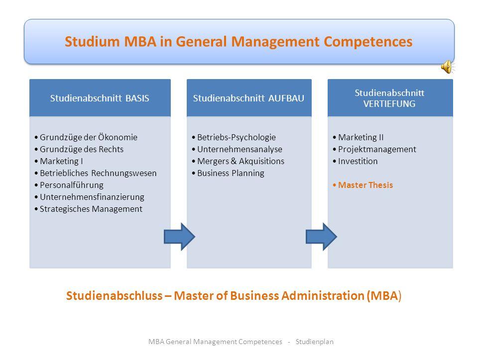 StudienfächerLehrveranstaltungen MBA General Management Competences - Studienplan Studienabschnitt 3 - VERTIEFUNGs-STUDIUM Handels-Marketing Investiti
