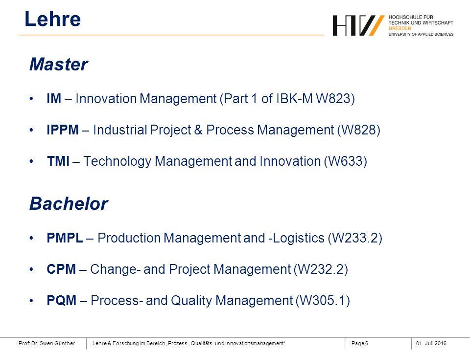 """Prof: Dr. Swen GüntherLehre & Forschung im Bereich """"Prozess-, Qualitäts- und Innovationsmanagement""""01. Juli 2016Page 6 Master IM – Innovation Manageme"""