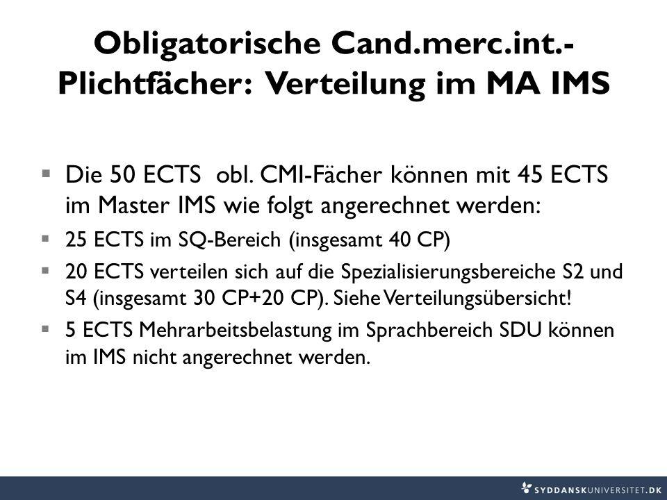 Obligatorische Cand.merc.int.- Plichtfächer: Verteilung im MA IMS  Die 50 ECTS obl.