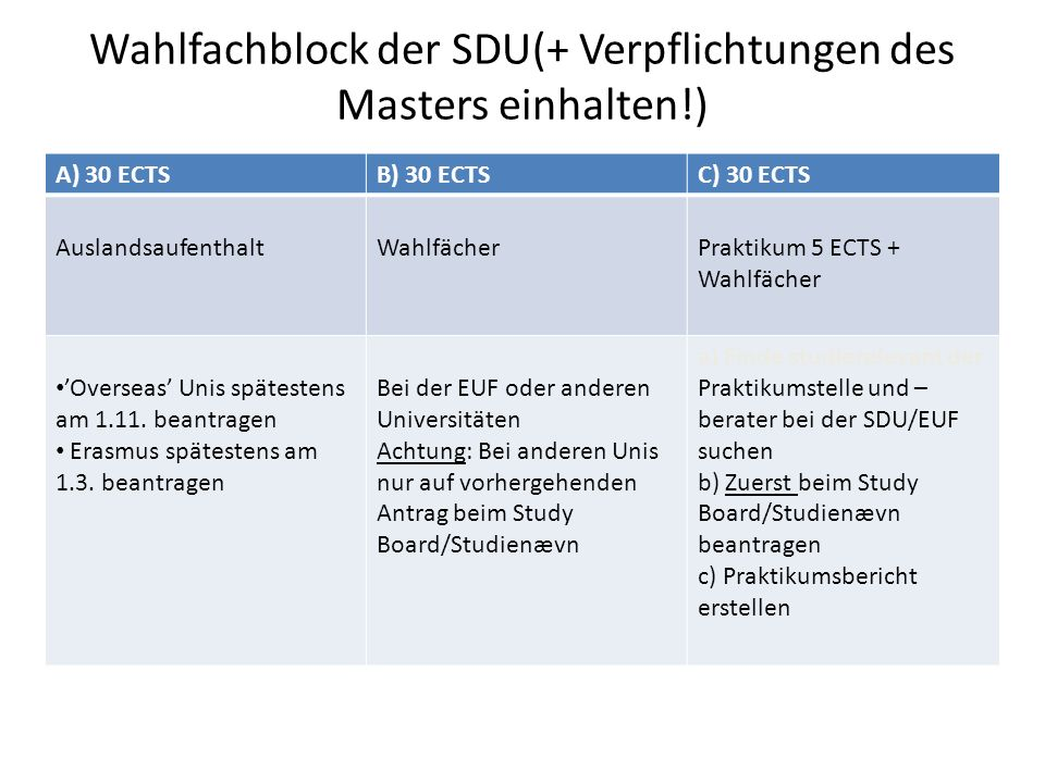 Masterarbeit  Nur EINE Masterarbeit schreiben - bei einem deutschen oder dänischen Professor (aber doppelt anmelden) * An Infoveranstaltung der SDU im 1.