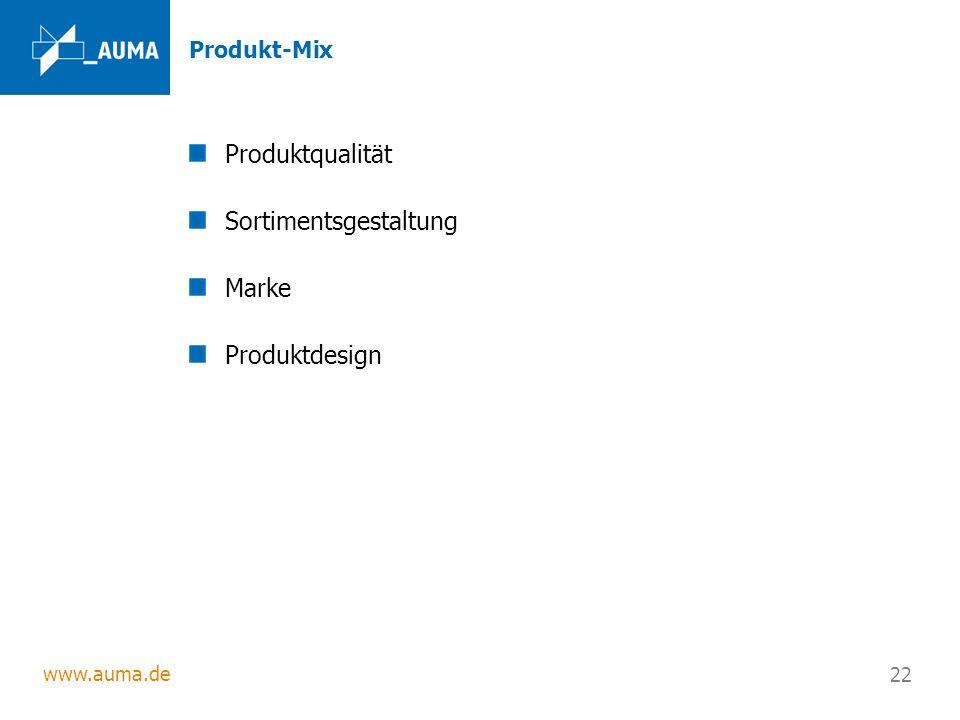www.auma.de 22 Produkt-Mix Produktqualität Sortimentsgestaltung Marke Produktdesign