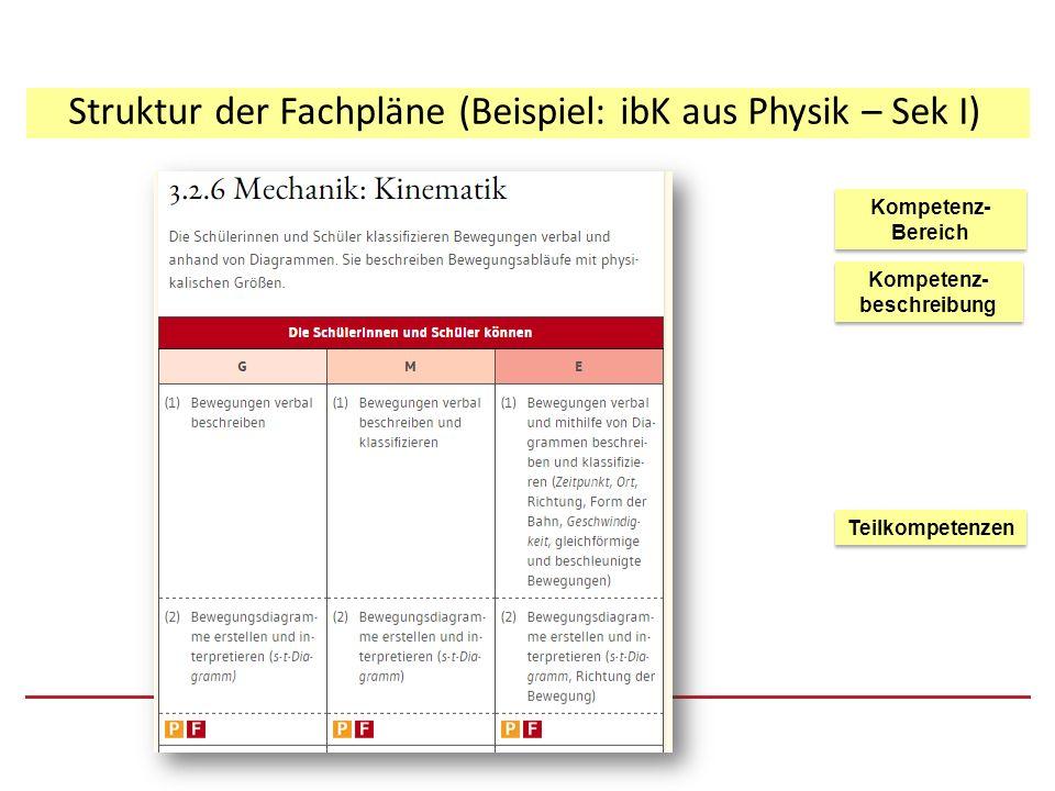 Struktur der Fachpläne (Beispiel: ibK aus Physik – G8) Kompetenz- beschreibung Kompetenz- Bereich Kompetenz- Bereich Teilkompetenzen Aktives Schülervokabular