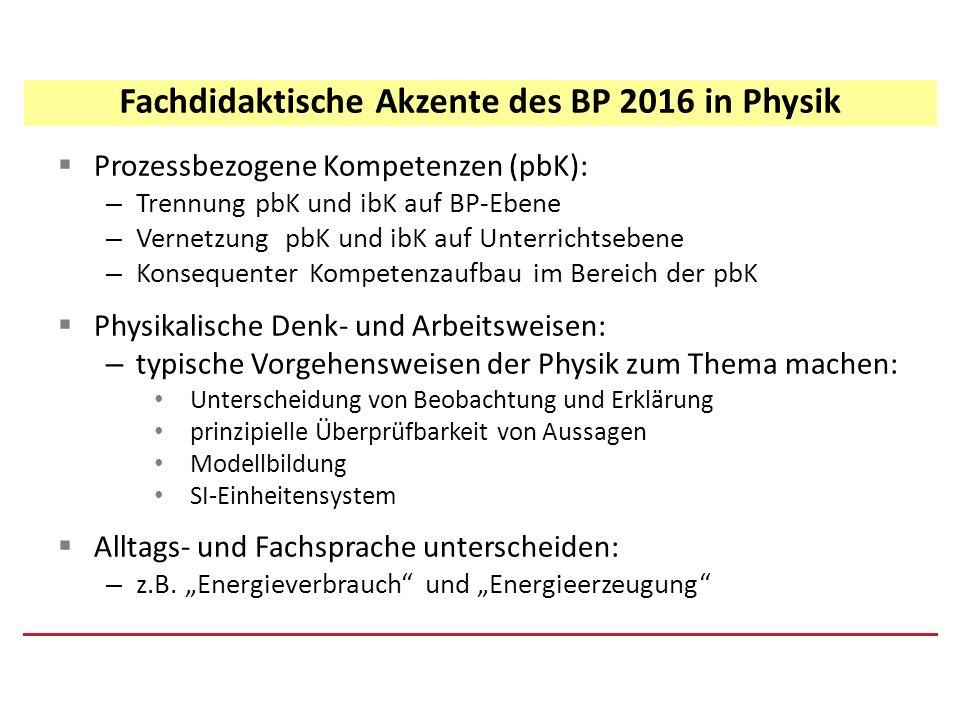  Prozessbezogene Kompetenzen (pbK): – Trennung pbK und ibK auf BP-Ebene – Vernetzung pbK und ibK auf Unterrichtsebene – Konsequenter Kompetenzaufbau