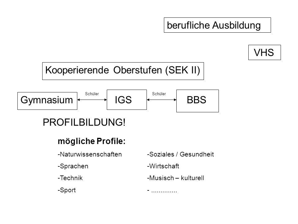 Kooperierende Oberstufen (SEK II) Gymnasium PROFILBILDUNG! mögliche Profile: -Naturwissenschaften-Soziales / Gesundheit -Sprachen-Wirtschaft -Technik-