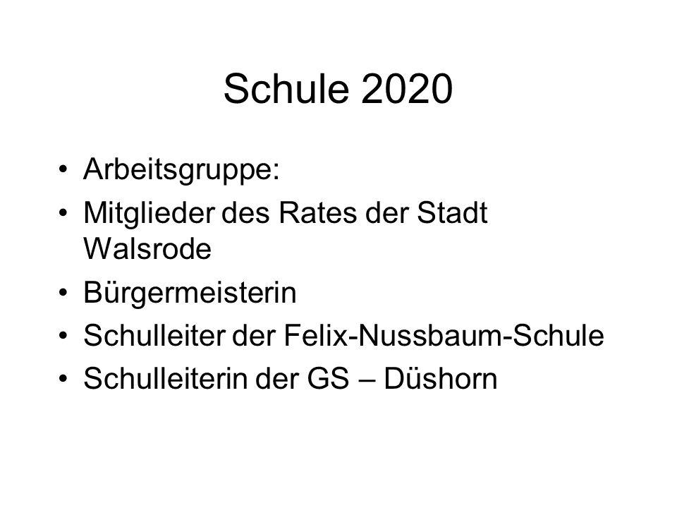 Schule 2020 Arbeitsgruppe: Mitglieder des Rates der Stadt Walsrode Bürgermeisterin Schulleiter der Felix-Nussbaum-Schule Schulleiterin der GS – Düshor