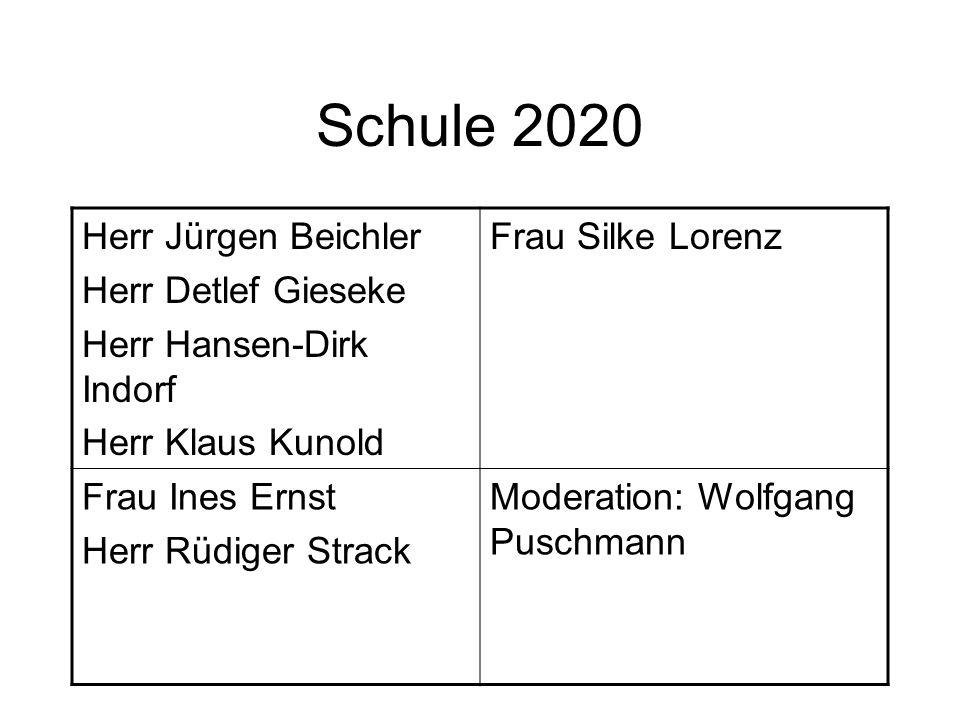Schule 2020 Herr Jürgen Beichler Herr Detlef Gieseke Herr Hansen-Dirk Indorf Herr Klaus Kunold Frau Silke Lorenz Frau Ines Ernst Herr Rüdiger Strack M