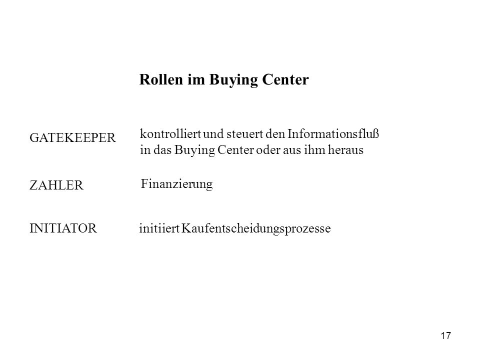 Rollen im Buying Center GATEKEEPER kontrolliert und steuert den Informationsfluß in das Buying Center oder aus ihm heraus ZAHLER Finanzierung INITIATORinitiiert Kaufentscheidungsprozesse 17