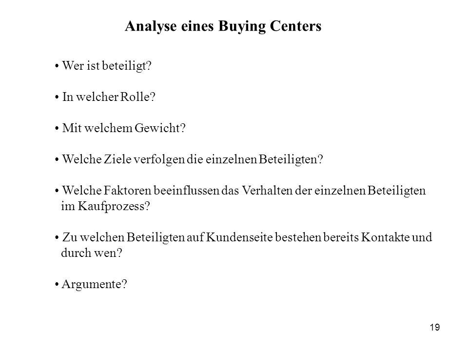 Analyse eines Buying Centers Wer ist beteiligt? In welcher Rolle? Mit welchem Gewicht? Welche Ziele verfolgen die einzelnen Beteiligten? Welche Faktor