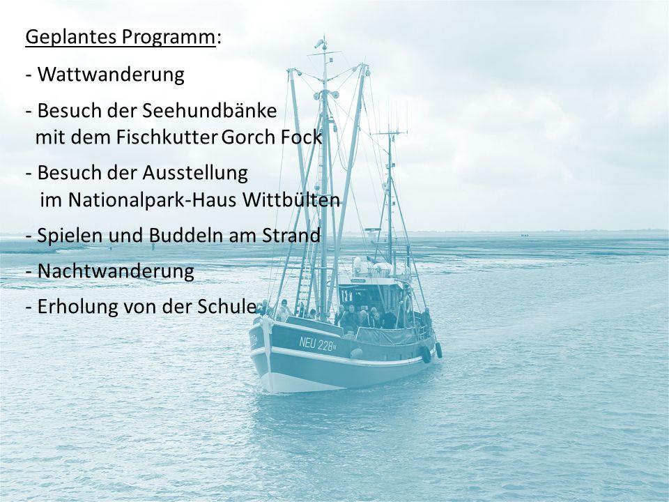 Geplantes Programm: - Wattwanderung - Besuch der Seehundbänke mit dem Fischkutter Gorch Fock - Besuch der Ausstellung im Nationalpark-Haus Wittbülten - Spielen und Buddeln am Strand - Nachtwanderung - Erholung von der Schule