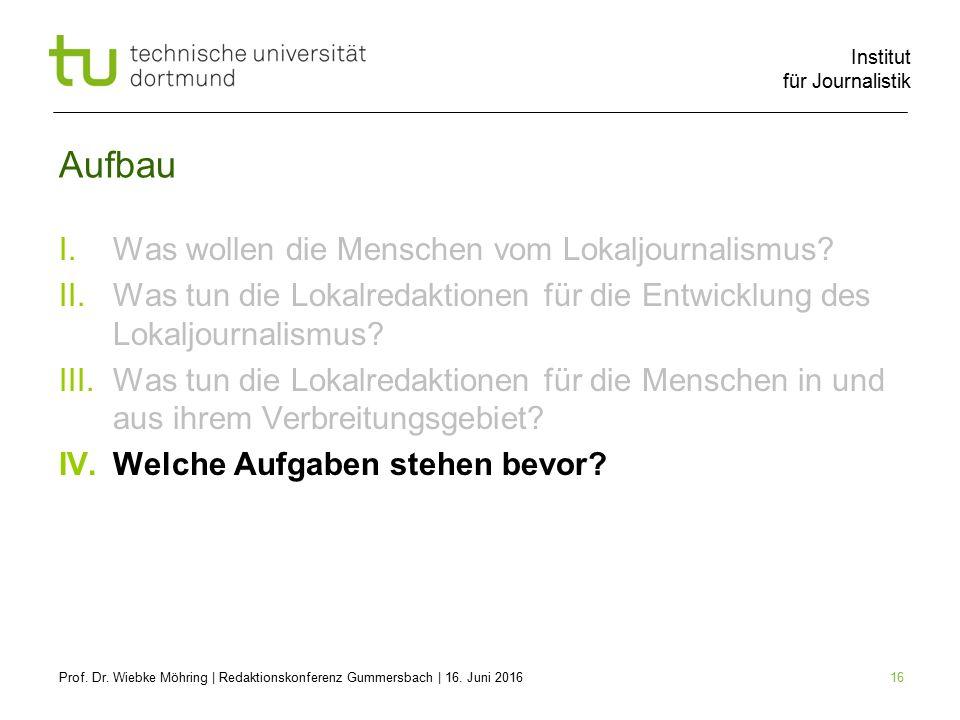 Institut für Journalistik 16 Aufbau I.Was wollen die Menschen vom Lokaljournalismus.