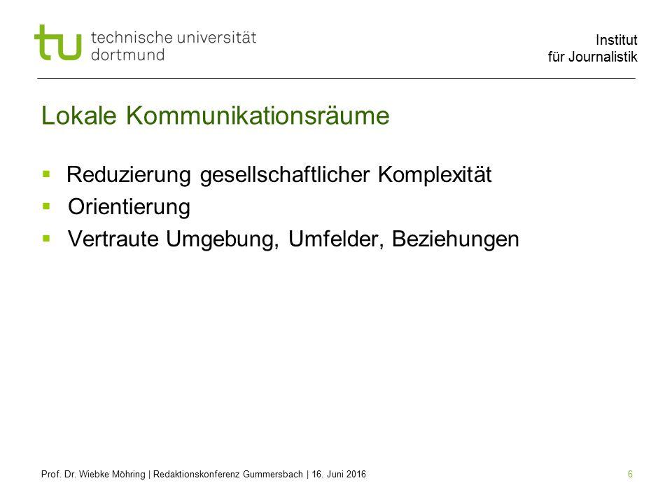 Institut für Journalistik 17 Herausforderungen  Lokale Suche = Lokale Räume = Lokaljournalismus.