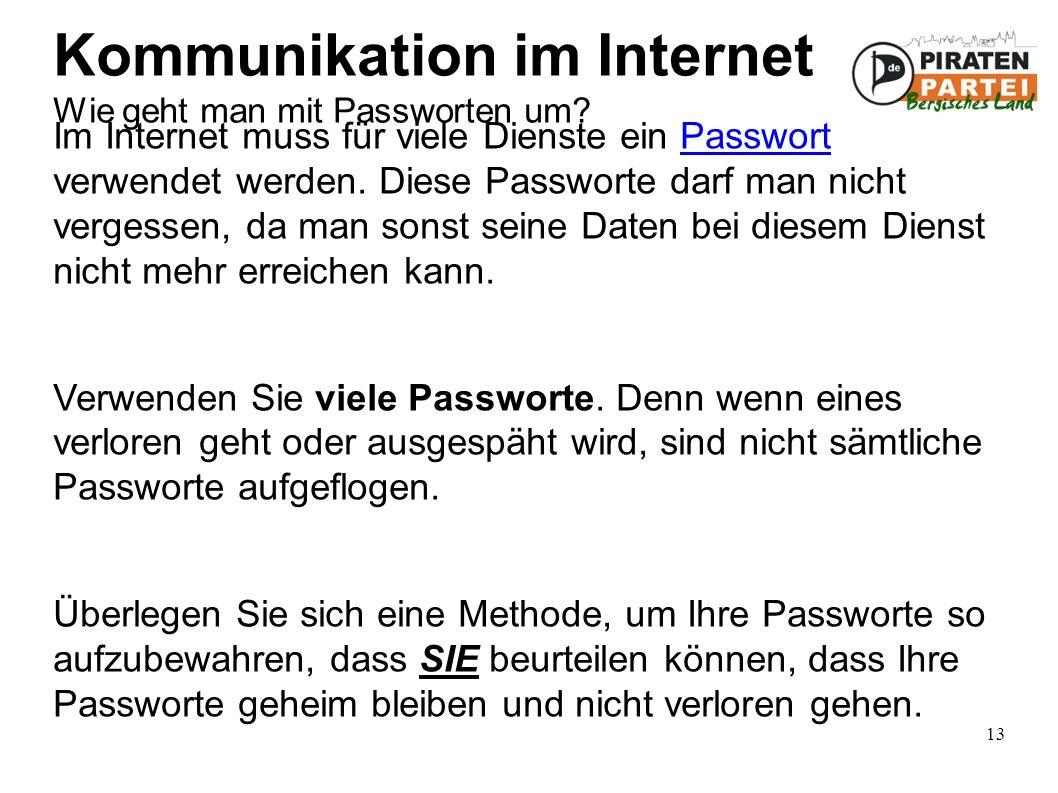 13 Kommunikation im Internet Wie geht man mit Passworten um.