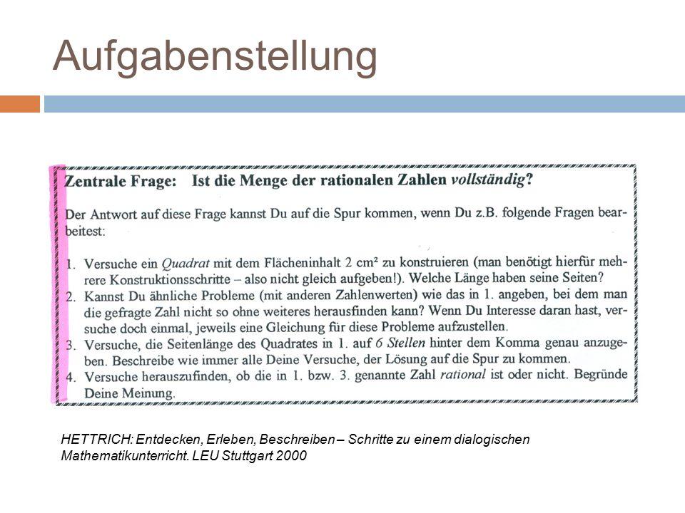 Aufgabenstellung HETTRICH: Entdecken, Erleben, Beschreiben – Schritte zu einem dialogischen Mathematikunterricht. LEU Stuttgart 2000