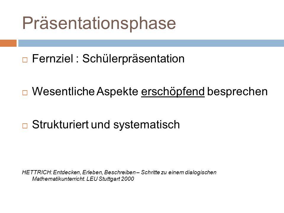 Präsentationsphase  Fernziel : Schülerpräsentation  Wesentliche Aspekte erschöpfend besprechen  Strukturiert und systematisch HETTRICH: Entdecken,