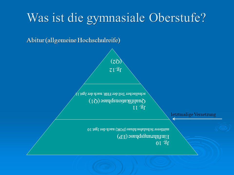Was ist die gymnasiale Oberstufe. Abitur (allgemeine Hochschulreife) Jg.12 (Q2) Jg.