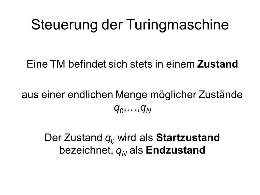 Steuerung der Turingmaschine Eine TM befindet sich stets in einem Zustand aus einer endlichen Menge möglicher Zustände q 0,…,q N Der Zustand q 0 wird als Startzustand bezeichnet, q N als Endzustand