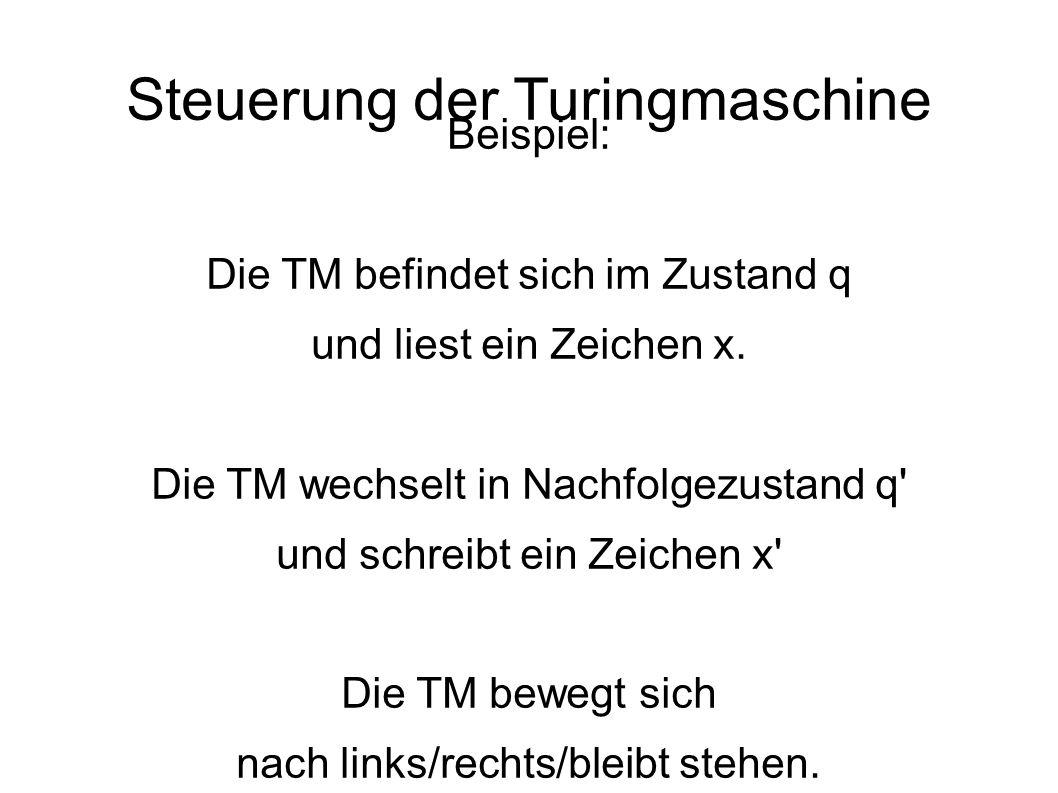 Steuerung der Turingmaschine Beispiel: Die TM befindet sich im Zustand q und liest ein Zeichen x.
