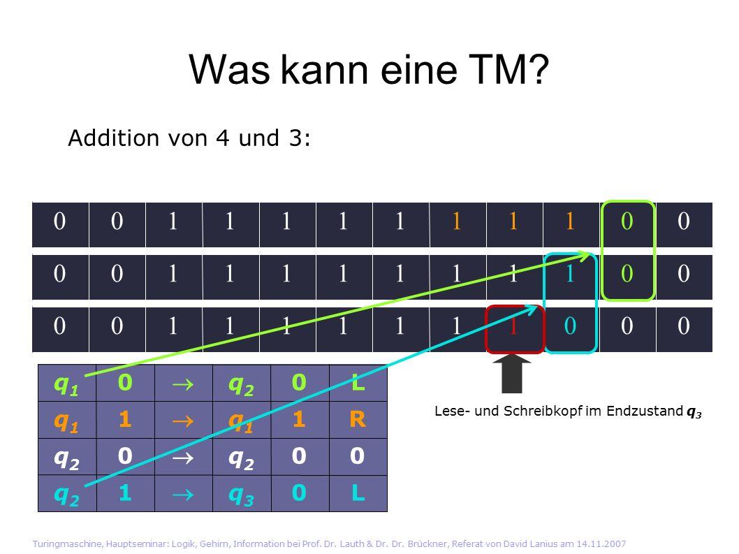 Was kann eine TM. Turingmaschine, Hauptseminar: Logik, Gehirn, Information bei Prof.