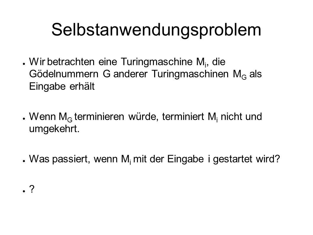 Selbstanwendungsproblem ● Wir betrachten eine Turingmaschine M i, die Gödelnummern G anderer Turingmaschinen M G als Eingabe erhält ● Wenn M G terminieren würde, terminiert M i nicht und umgekehrt.