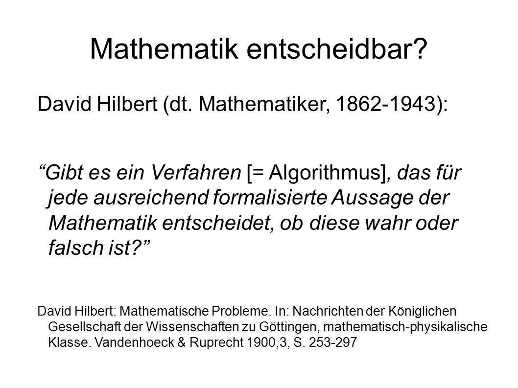 Mathematik entscheidbar. David Hilbert (dt.