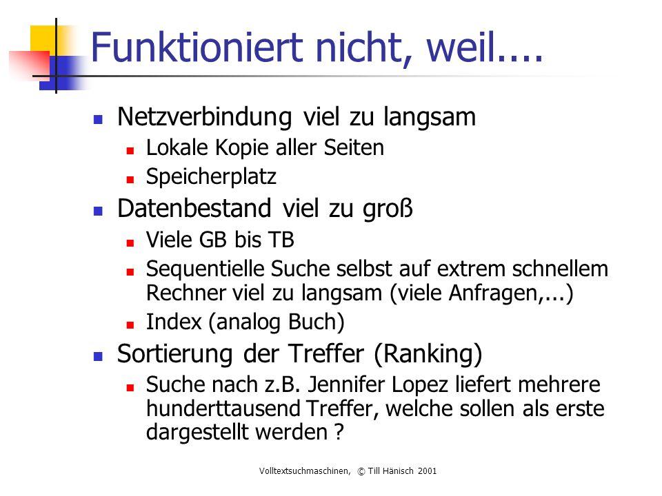 Volltextsuchmaschinen, © Till Hänisch 2001 Funktioniert nicht, weil....