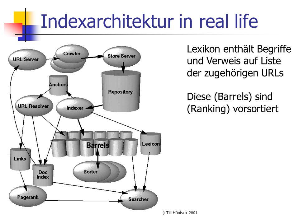 Volltextsuchmaschinen, © Till Hänisch 2001 Indexarchitektur in real life Lexikon enthält Begriffe und Verweis auf Liste der zugehörigen URLs Diese (Barrels) sind (Ranking) vorsortiert