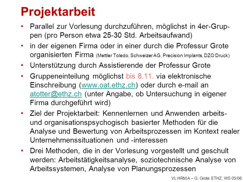 VL HRM A – G. Grote ETHZ, WS 05/06 Projektarbeit Parallel zur Vorlesung durchzuführen, möglichst in 4er-Grup- pen (pro Person etwa 25-30 Std. Arbeitsa