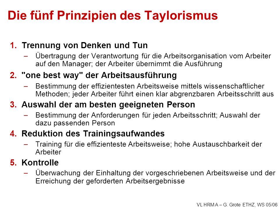 VL HRM A – G. Grote ETHZ, WS 05/06 Die fünf Prinzipien des Taylorismus 1.Trennung von Denken und Tun –Übertragung der Verantwortung für die Arbeitsorg