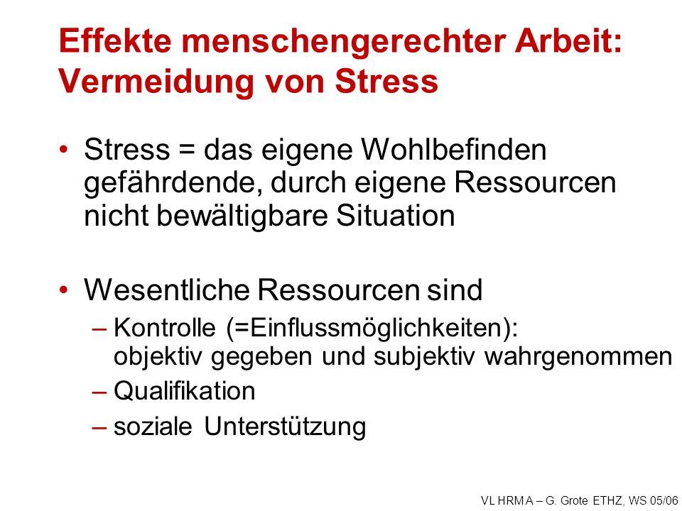 VL HRM A – G. Grote ETHZ, WS 05/06 Effekte menschengerechter Arbeit: Vermeidung von Stress Stress = das eigene Wohlbefinden gefährdende, durch eigene