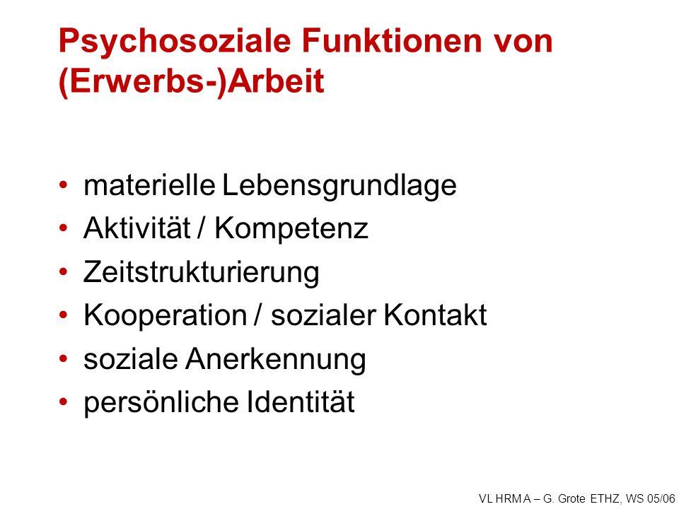 VL HRM A – G. Grote ETHZ, WS 05/06 Psychosoziale Funktionen von (Erwerbs-)Arbeit materielle Lebensgrundlage Aktivität / Kompetenz Zeitstrukturierung K