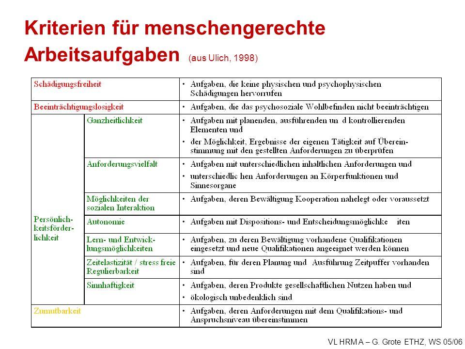 VL HRM A – G. Grote ETHZ, WS 05/06 Kriterien für menschengerechte Arbeitsaufgaben (aus Ulich, 1998)