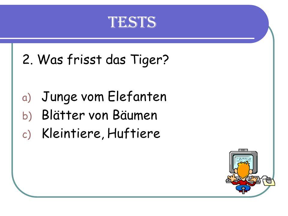 Tests 2. Was frisst das Tiger a) Junge vom Elefanten b) Blätter von Bäumen c) Kleintiere, Huftiere