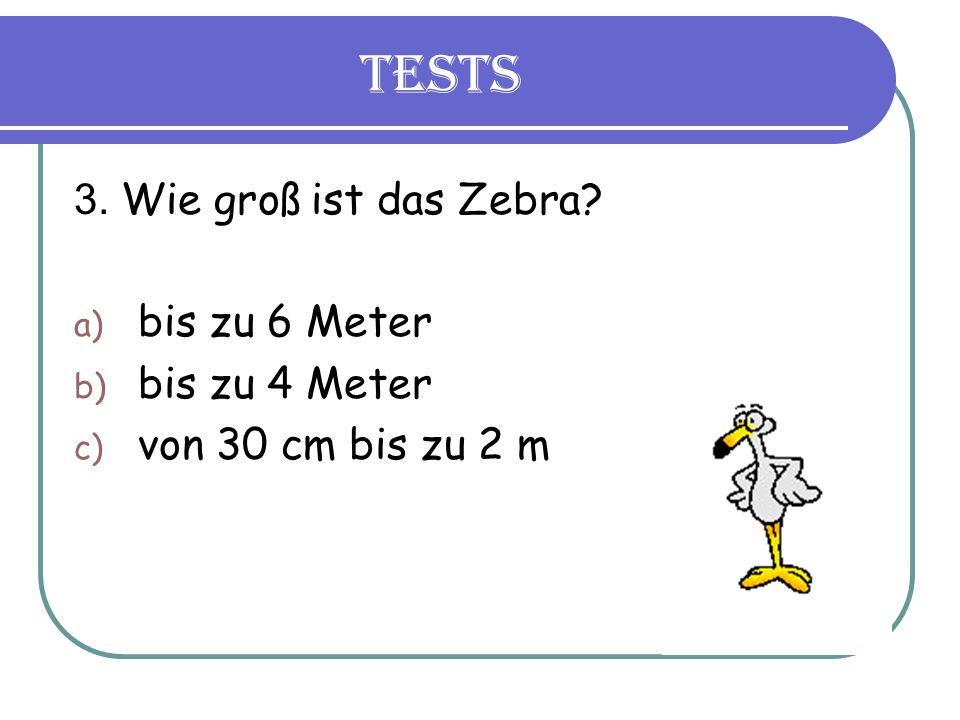 Tests 3. Wie groß ist das Zebra a) bis zu 6 Meter b) bis zu 4 Meter c) von 30 cm bis zu 2 m