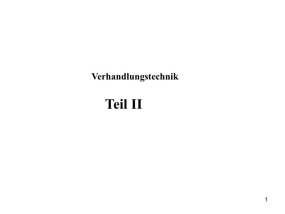 Teil II Verhandlungstechnik 1