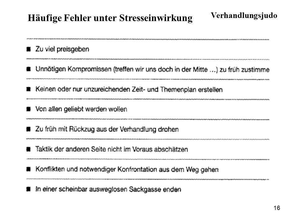 Häufige Fehler unter Stresseinwirkung 16 Verhandlungsjudo